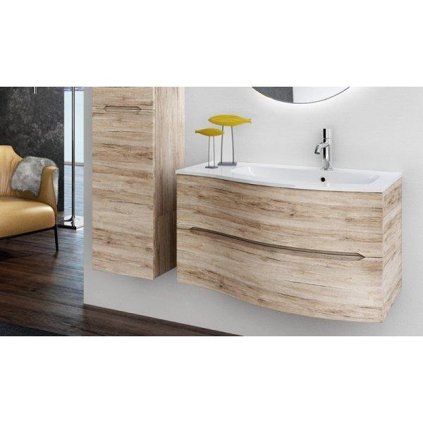 Bagno In Stile Moderno Con Vasca Doccia E Rivestimenti Da Parete : Mobile agape sospeso bianco lucido vasca destra